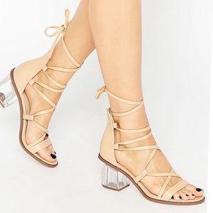 ASOS Beige Clear Heels Lace Up Sandals